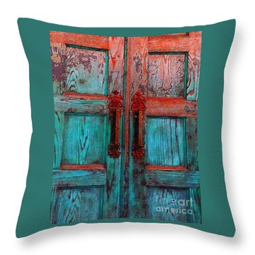 Throw Pillow featuring the photograph Old Church Door Handles 1 by Becky Lupe