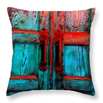 Old Church Door Handles 2 Throw Pillow