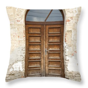 Throw Pillow featuring the photograph Old Church Door by Les Palenik
