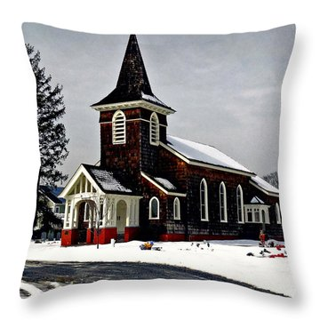 Old Church Throw Pillow by Mikki Cucuzzo