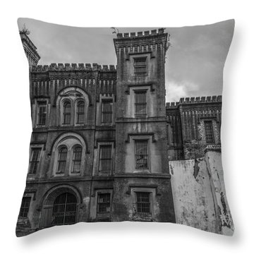 Old City Jail In Black And White Throw Pillow