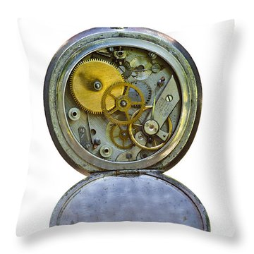 Old Clock Throw Pillow by Michal Boubin