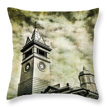 Old Clock Tower Throw Pillow by Perry Webster