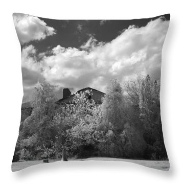 Throw Pillow featuring the photograph Old Coast Guard Barracks On Winter Island by Jeff Folger