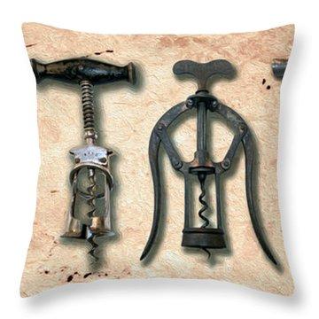 Old Corkscrews Painting Throw Pillow