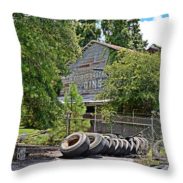 Throw Pillow featuring the photograph Old Cotton Gin by Linda Brown