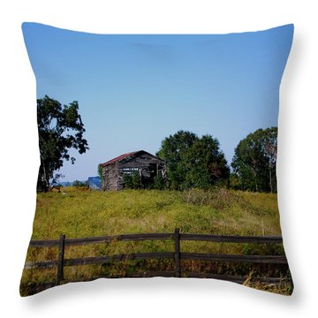 Old Country Barn Throw Pillow by Maggy Marsh