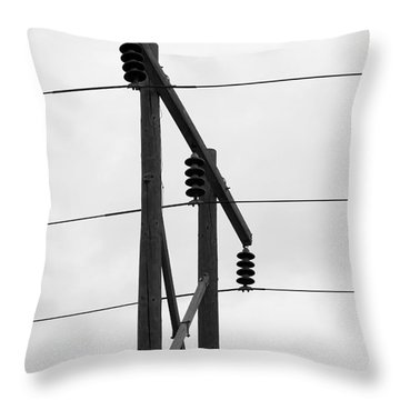 Old Country Power Line Throw Pillow