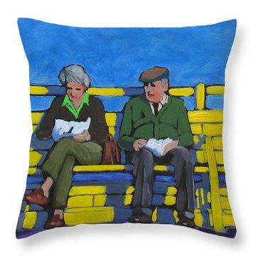 Old Couple Throw Pillow
