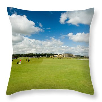 Old Course Fairways Throw Pillow by Jeremy Voisey