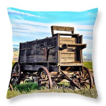 Old Covered Wagon Throw Pillow by Athena Mckinzie