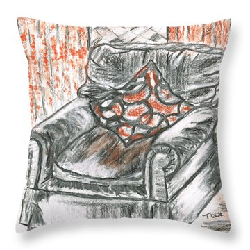 Old Cozy Chair Throw Pillow