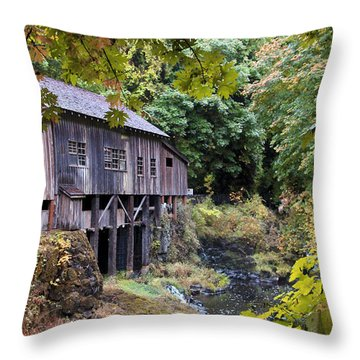 Old Creek Grist Mill In Autumn Throw Pillow by Athena Mckinzie