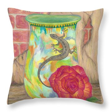 Old Crock And Rose Throw Pillow