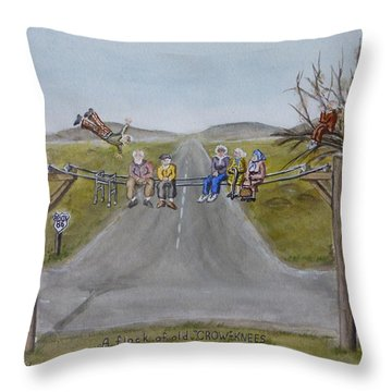 Throw Pillow featuring the painting Old Crowknees Fly South by Kelly Mills