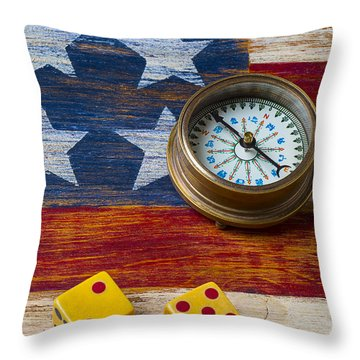 Old Dice And Compass Throw Pillow by Garry Gay