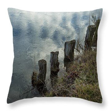 Throw Pillow featuring the photograph Old Dock Supports Along The Canal Bank - No 1 by Belinda Greb