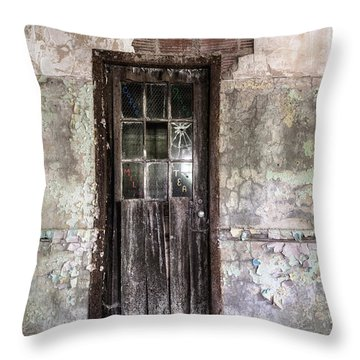 Old Door - Abandoned Building - Tea Throw Pillow by Gary Heller