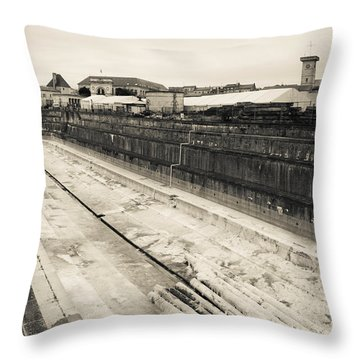 Old Drydock At The Rope Making Factory Throw Pillow