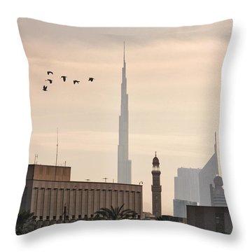 Throw Pillow featuring the photograph Old Dubai by John Swartz