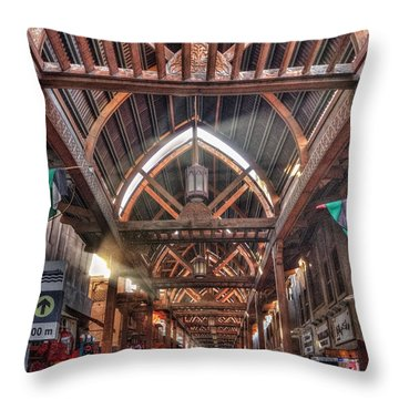 Throw Pillow featuring the photograph Old Dubai Market by John Swartz