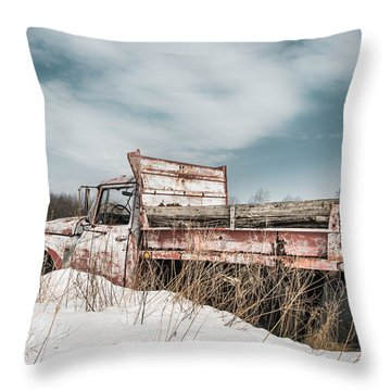 Old Dump Truck - Winter Landscape Throw Pillow