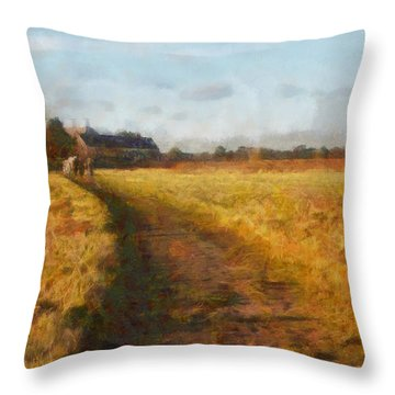 Old English Landscape Throw Pillow by Pixel Chimp