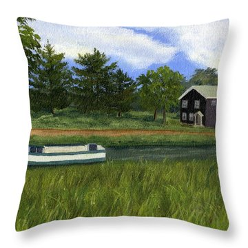 Throw Pillow featuring the painting Old Erie by Lynne Reichhart