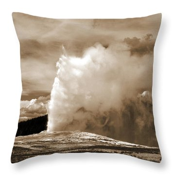 Old Faithful In Yellowstone Throw Pillow by Yue Wang