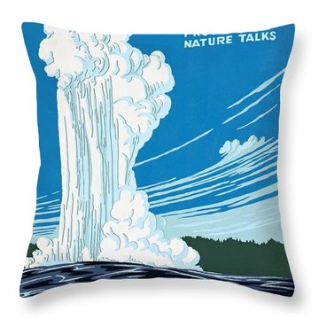 Old Faithful Yellowstone National Park Poster Ca 1938 Throw Pillow