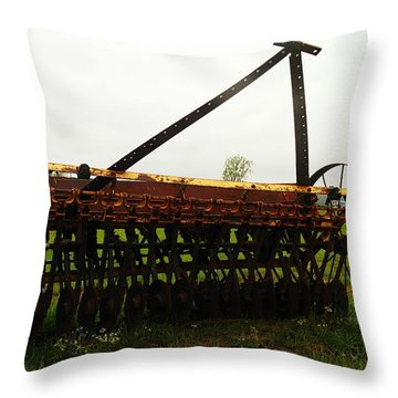 Old Farm Equipment Throw Pillow by Jeff Swan