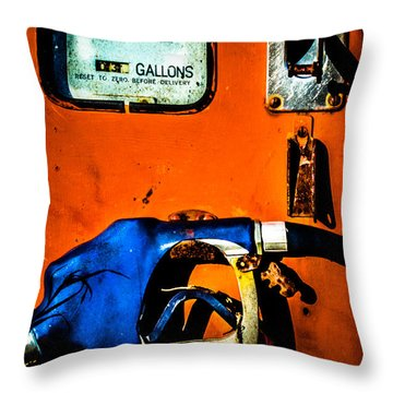 Old Farm Gas Pump Throw Pillow