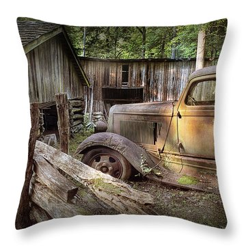 Old Farm Pickup Truck Throw Pillow