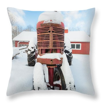 Old Farm Tractor In The Snow Throw Pillow