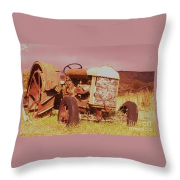 Old Farm Tractor  Throw Pillow by Jeff Swan