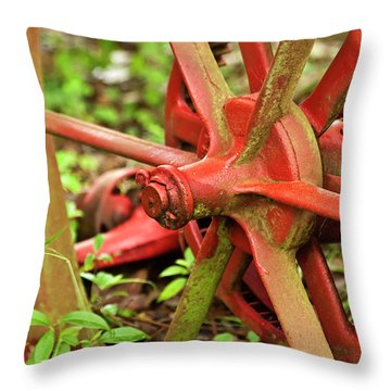 Old Farm Tractor Wheel Throw Pillow by Carolyn Marshall
