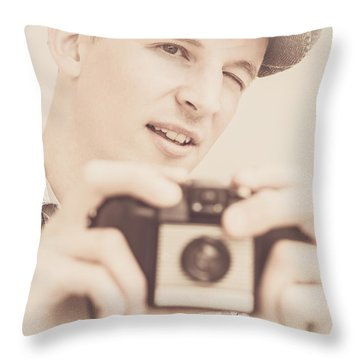 Old Fashion Male Freelance Photographer Throw Pillow