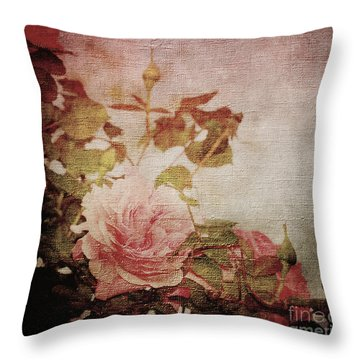 Old Fashion Rose Throw Pillow by Judy Wolinsky