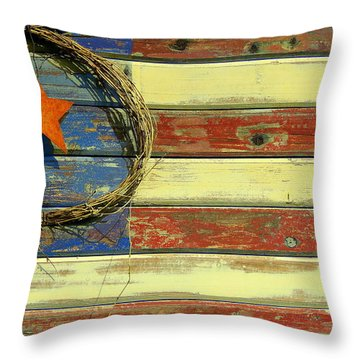 Old-fashioned American Pride Throw Pillow by Myrna Bradshaw