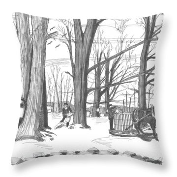 Old Fashioned Maple Syruping Throw Pillow
