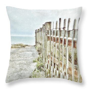Old Fence To The Sea  Throw Pillow