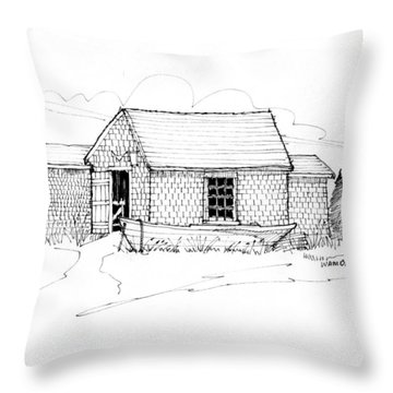 Throw Pillow featuring the drawing Old Fishermans Shack Monhegan Museum 1987 by Richard Wambach