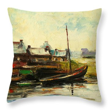 Old Fisherman's Village Throw Pillow