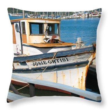 Old Fishing Boat In Sausalito Throw Pillow by Connie Fox