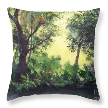 Throw Pillow featuring the painting Old Florida 2 by Mary Lynne Powers