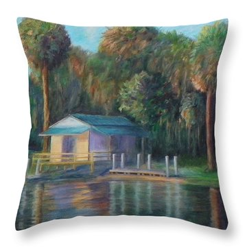 Old Florida Morning At Salt Springs Throw Pillow