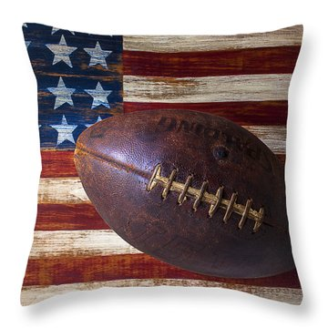 Old Football On American Flag Throw Pillow