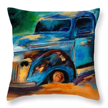 Old Ford In The Back Of The Field Throw Pillow