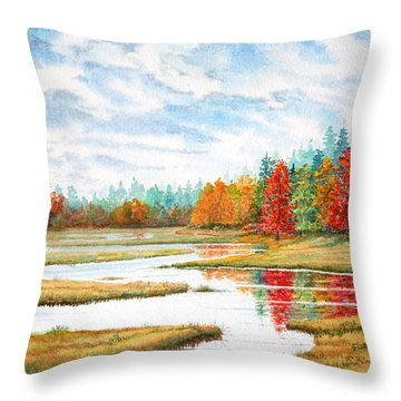 Throw Pillow featuring the painting Old Forge Autumn by Roger Rockefeller