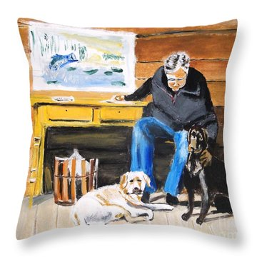 Throw Pillow featuring the painting Old Friends by Judy Kay